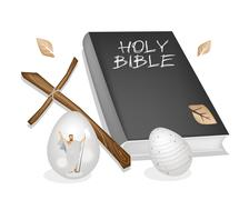Holy Bible with Wooden Cross and Easter Eggs Stock Illustration
