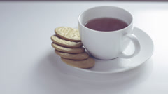 Tea and biscuits dolly shot. Afternoon tea concept. Stock Footage