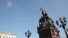 Monument to Nicholas I on St. Isaac's Square motion Stock Footage