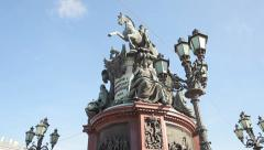 Monument to Nicholas I on St. Isaac's Square Stock Footage