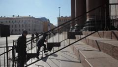 People go up the stairs Stock Footage