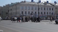 People crossing the road Stock Footage