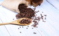 Bag of coffee beans. Stock Photos