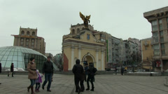 City, people walk,  Maydan Nezaleznosti Kyev Stock Footage