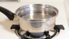 Boiling water and eggs Stock Footage
