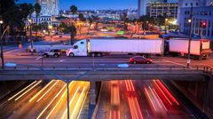 4K timelapse of traffic in Los Angeles city. Twilight to night transition Stock Footage
