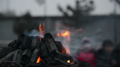 The burning-charcoal brasier is necessary for the ceremony Stock Footage