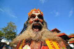 Sadhu man with long beard Stock Photos