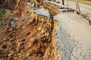 Stock Photo of broken road by an earthquake or landslide