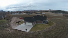 Aerial modern farm house rural community HD 014 Stock Footage