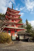 Shureito pagoda fuji mountain japan Stock Photos