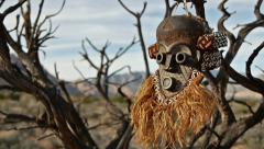 African Primitive Mask Scary Savage Landscape Stock Footage