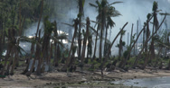 Stock Video Footage of 4K Hurricane Devastated Coastline Damage Typhoon Haiyan