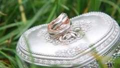 A wedding rings in the grass on casket. Stock Footage