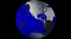 Breaking News Globe, Blue w/ Alpha (60fps) - stock footage
