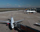 Stock Video Footage of airberlin and lufthansa jet airplanes on apron at dusseldorf airport.