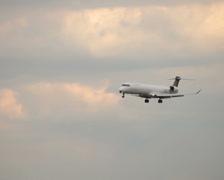 Eurowings canadair crj-900 jet airplane d-acnr landing dusseldorf airport. Stock Footage