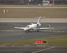 Hahn airlines cessna 525c citationjet cj4 airplane d-chra taxiing dusseldorf  Stock Footage