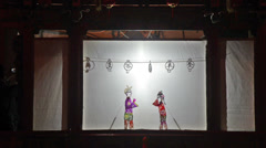 The Chinese traditional performance-shadow show Stock Footage