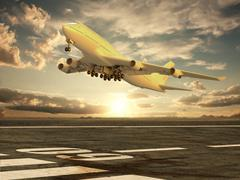 airplane taking off at sunset - stock illustration