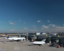 lufthansa airplane jets on dusseldorf airport apron. - stock footage