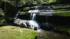 Tham Yai Waterfall at Phu Kradeug Stock Footage