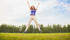 Jumping on the glade Stock Footage