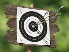 Three arrows on an archery target Stock Illustration