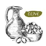 Jug and olives - stock illustration