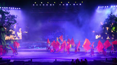 The Chinese traditional performance-flag dancing and dashuhua show in Yu County Stock Footage