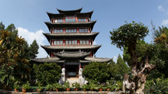 Pagoda in old town Lijiang in Yunnan province, China Time lapse Stock Footage