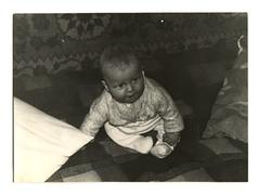 vintage photo of a litle boy, circa 1970. - stock photo