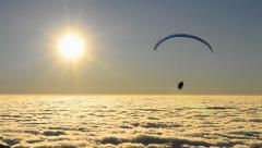 Para glider float over beautiful mist (effect) Stock Footage