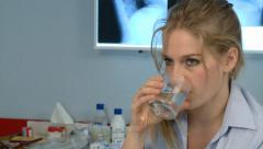 WOMAN DRINKING WATER Stock Footage