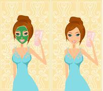 Cute woman applying moisturizer vector illustration Stock Illustration