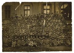 vintage photo of a schoolboys odessa gymnasium, circa 1880. - stock photo