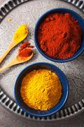 spices in bowls: curry and paprika powder - stock photo