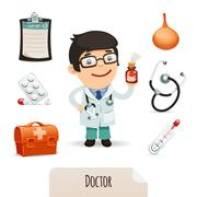 medical set with a male doctor - stock illustration