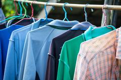 T-shirts with different colors and see which stitch and seam Stock Photos