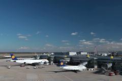 lufthansa airplane jets on dusseldorf airport apron. - stock footage