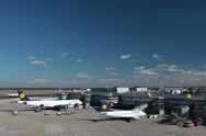 Stock Video Footage of lufthansa airplane jets on dusseldorf airport apron.