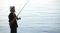 Sports fisherman on Danube Stock Footage