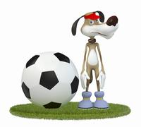 Stock Illustration of amusing 3d dog football player.