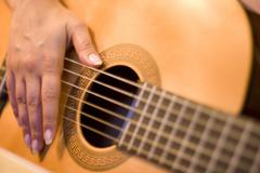 solo on guitar - stock photo