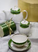 tea service and gift box - stock photo