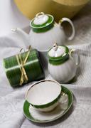 white with green tea service - stock photo