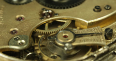 Ultra HD 4K UHD Mechanism Cog Macro Clock Ticking Clockworks Concept Time Pass Stock Footage
