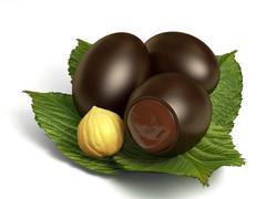 Chocolate eggs Stock Illustration
