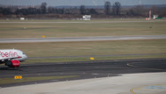 Stock Video Footage of airberlin airbus a319-112 jet airplane hb-joy taxiing taking off dusseldorf a
