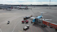 Stock Video Footage of klm jet airplane on dusseldorf airport apron.